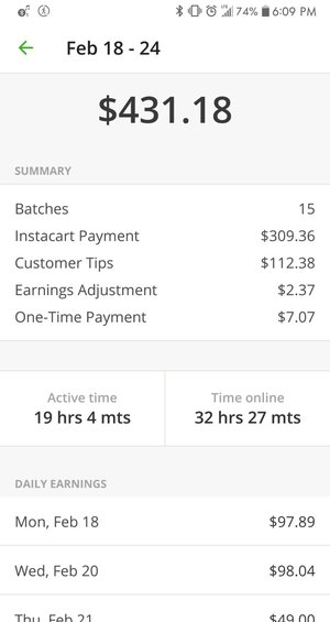 Example of weekly pay provided by Instacart
